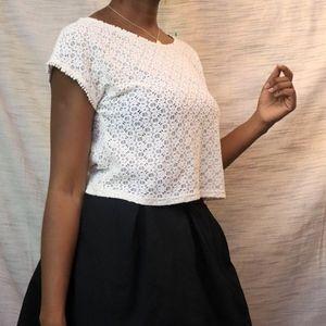 Open Knit Lace Crop Top